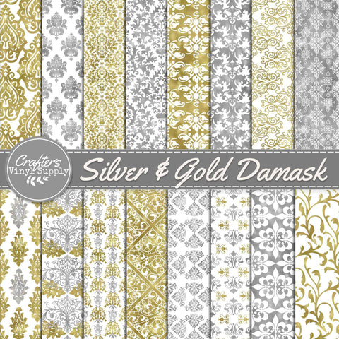 Silver & Gold Damask