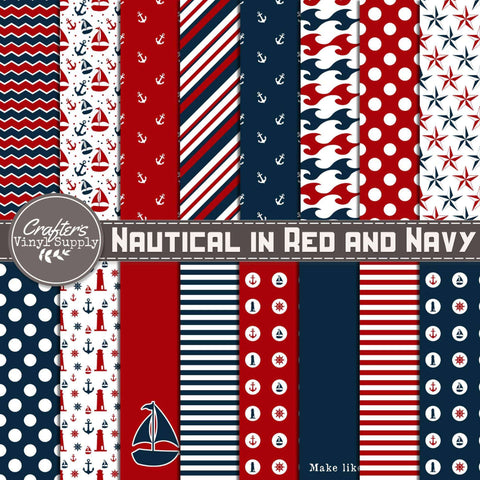 Nautical in Red and Navy Patterns