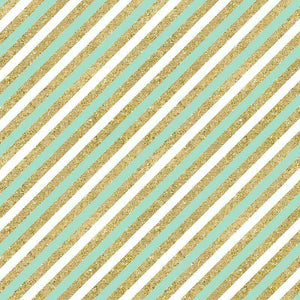"Crafter's Vinyl Supply Cut Vinyl ORAJET 3651 / 12"" x 12"" Mint & Gold Diagonal Stripes - Pattern Vinyl and HTV by Crafters Vinyl Supply"