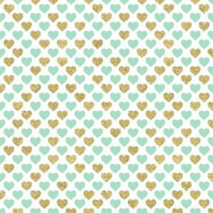 "Crafter's Vinyl Supply Cut Vinyl ORAJET 3651 / 12"" x 12"" Mint & Gold Hearts - Pattern Vinyl and HTV by Crafters Vinyl Supply"