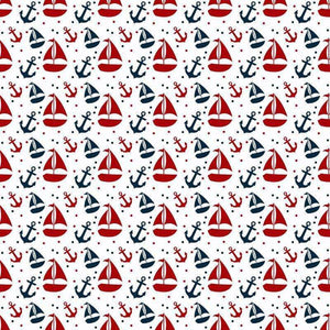 "Crafter's Vinyl Supply Cut Vinyl ORAJET 3651 / 12"" x 12"" Nautical in Red and Navy Patterns 2 - Pattern Vinyl and HTV by Crafters Vinyl Supply"
