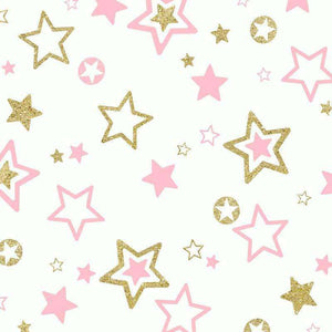 "Crafter's Vinyl Supply Cut Vinyl ORAJET 3651 / 12"" x 12"" Pink & Gold Stars - Pattern Vinyl and HTV by Crafters Vinyl Supply"