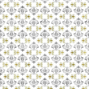 "Crafter's Vinyl Supply Cut Vinyl ORAJET 3651 / 12"" x 12"" Silver & Gold Damask #11 - Pattern Vinyl and HTV by Crafters Vinyl Supply"