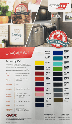 Crafter's Vinyl Supply More ORACAL® 641 Colour Chart by Crafters Vinyl Supply