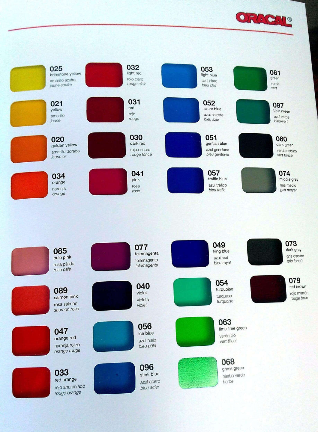 Crafter's Vinyl Supply More ORACAL® 8300 Colour Chart by Crafters Vinyl Supply