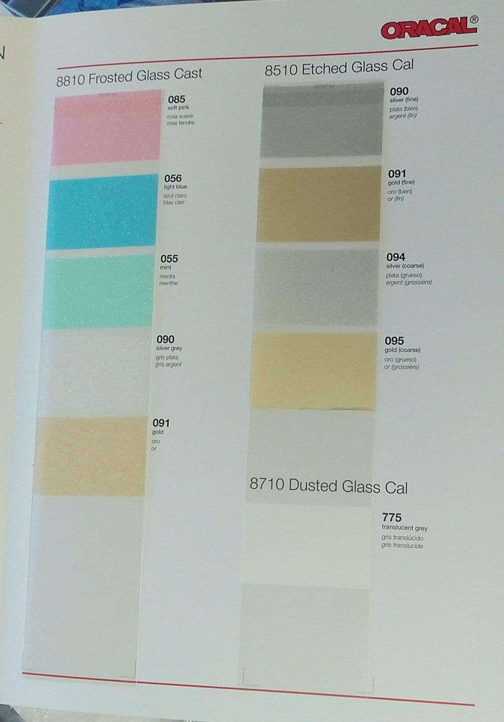 Crafter's Vinyl Supply More ORACAL® 8510/8810/8710 Colour Chart by Crafters Vinyl Supply