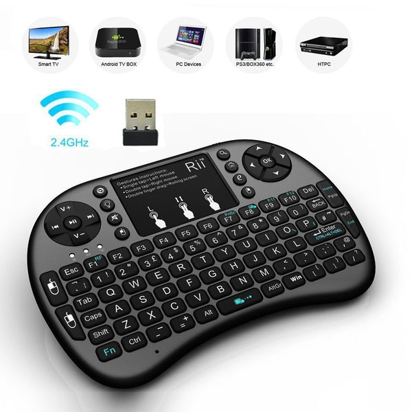 (Updated With Backlit) Rii i8+ 2.4GHz Mini Wireless Keyboard with Touchpad Mouse, LED Backlit, Rechargable Li-ion Battery, Soft Silicone Button, Raspberry Pi 2, MacOS, Linux, HTPC, IPTV, Google Android TV Box, Windows XP Vista 7 8 10