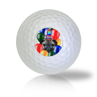 Birthday Pug in Balloons Golf Balls - Half Price Golf Balls - Canada's Source For Premium Used & Recycled Golf Balls