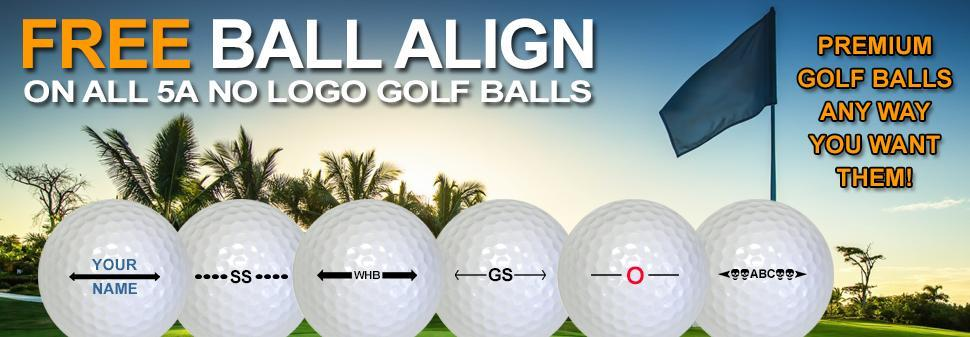 Free Ball Align on all 5A No Logo Golf Balls