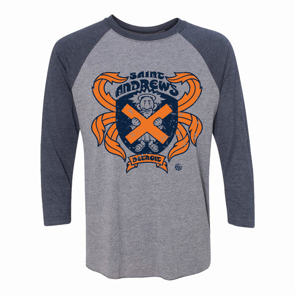 Detroit Tigers Inspired - Unisex Saint Andrew's Hall Raglan 3/4 Sleeve Baseball T-Shirt