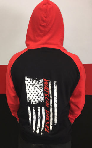 Black/ Red Hoodie With FLag Logo