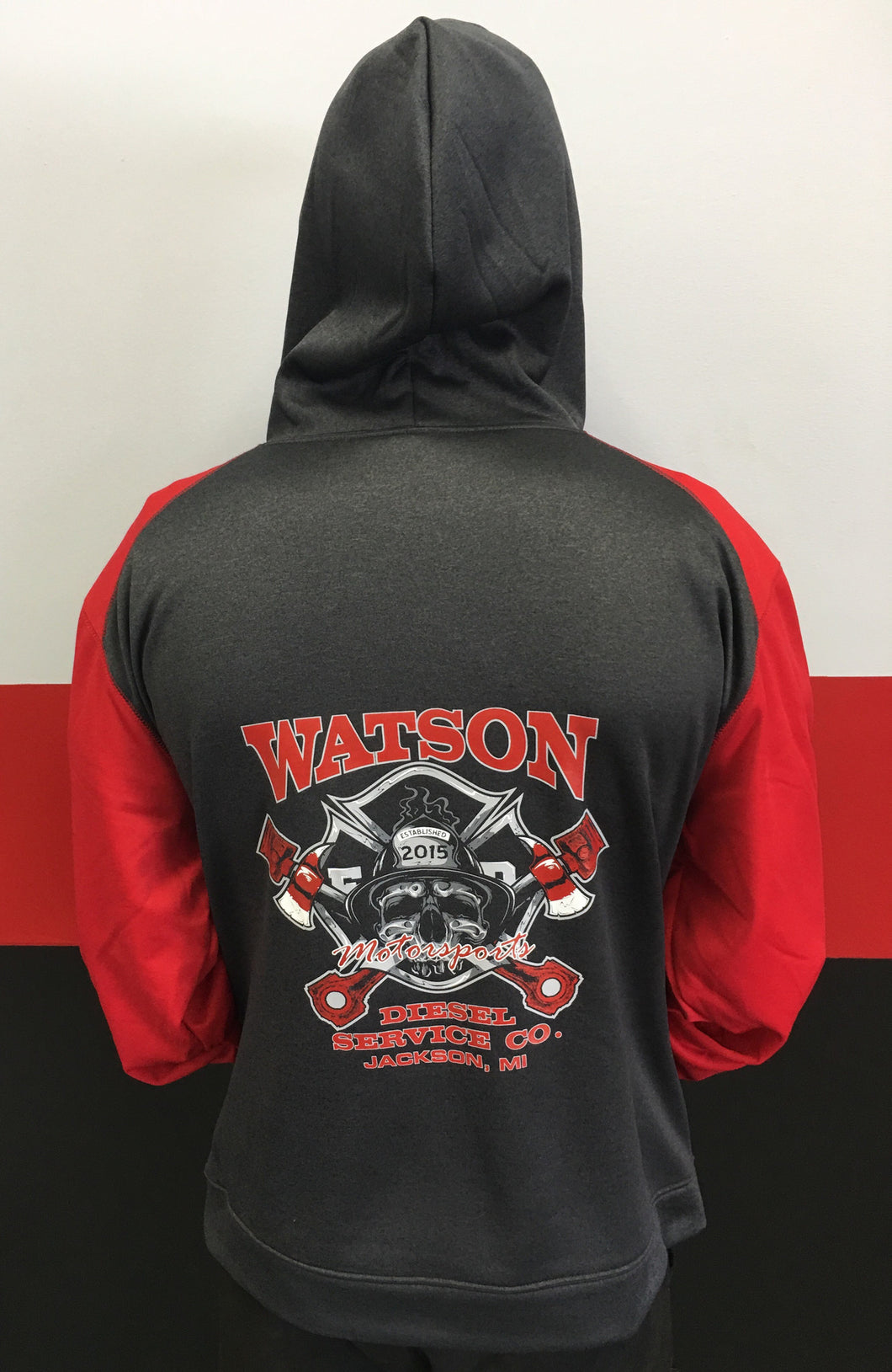 Charcoal/ Red Performance Hoodie With Skull Logo
