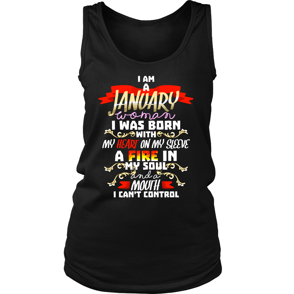 Born in January With Fire in My Soul Birthday B-day Gift Women's Tank Top Shirt