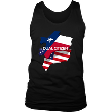 Texas USA Map Flag Dual Citizen Tank