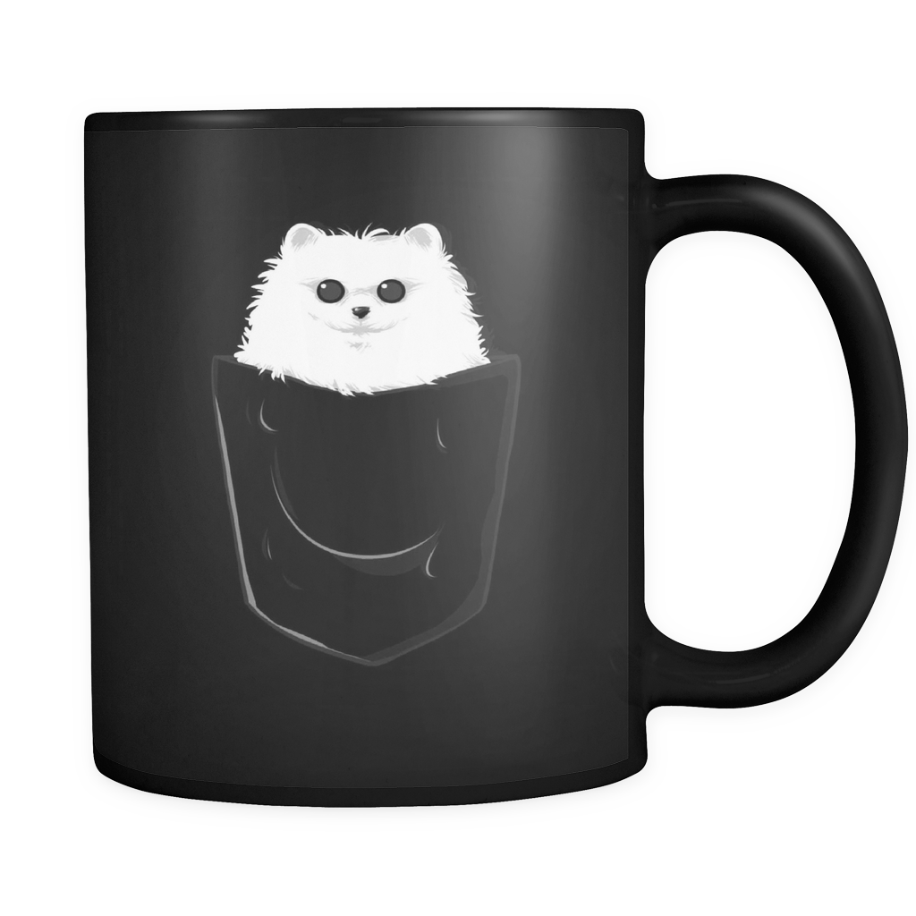 Funny Mugs - Fluffy Pom in a Pocket design on black ceramic 11oz mug