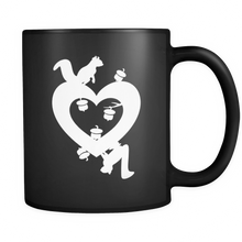 Valentines Day Mugs - Squirrel Love Heart Design on Black Ceramic Mug 11oz