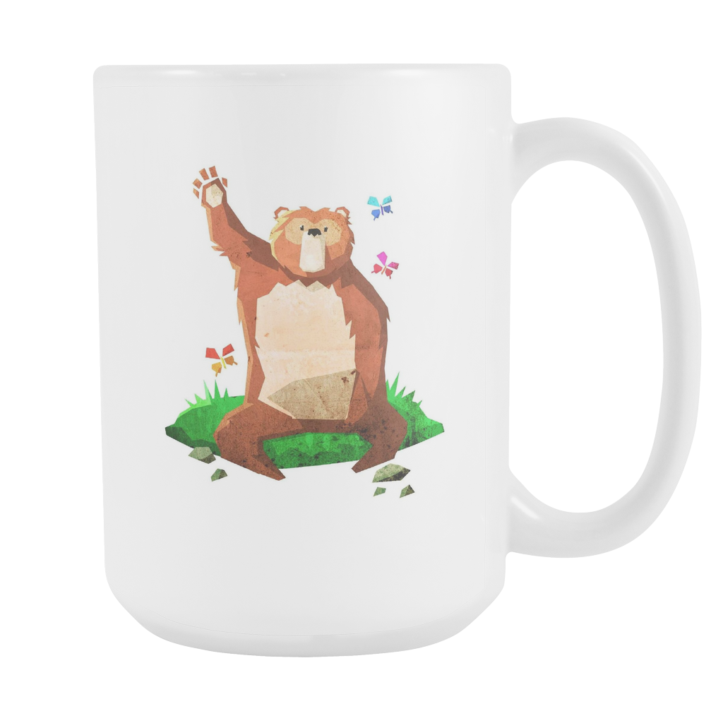 Cute Waving Bear - Big Bear White 15oz Mug