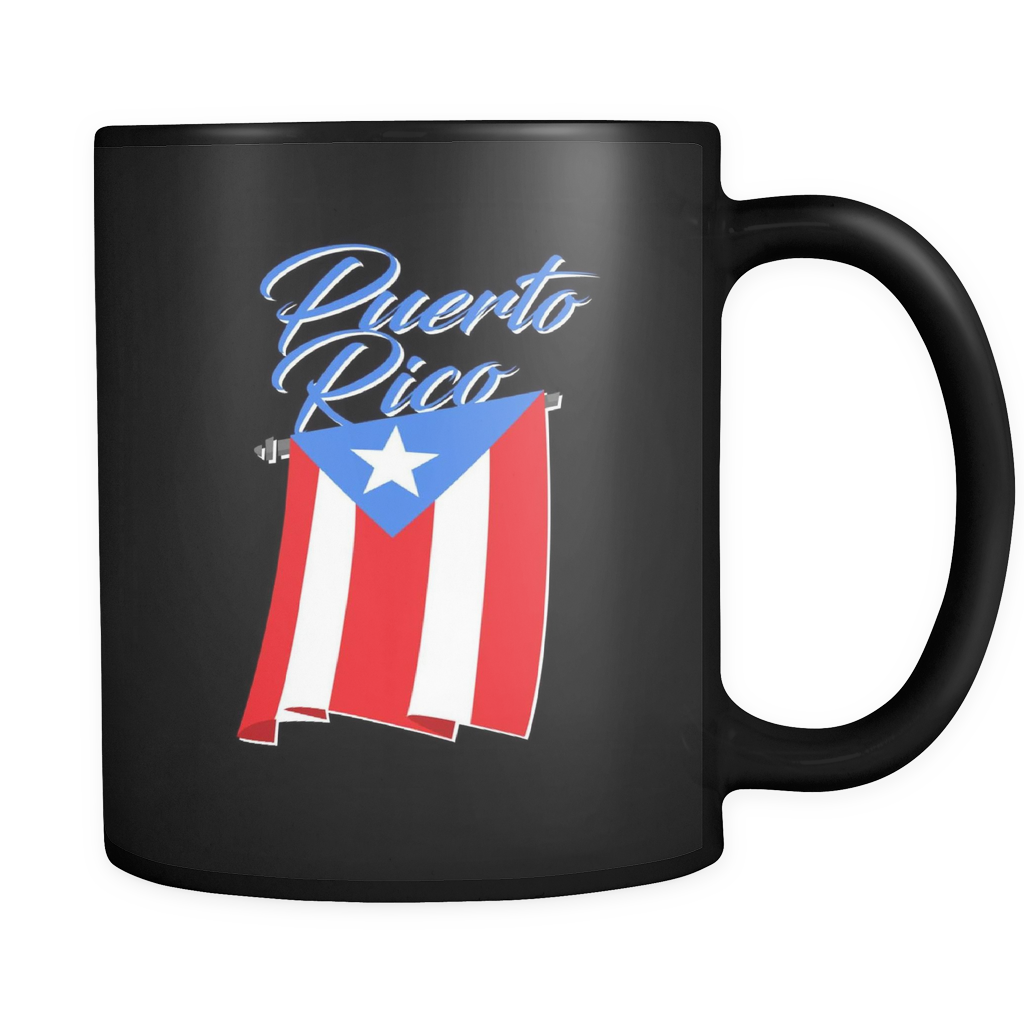Big Puerto Rican Flag on Puerto Rican Black 11oz mug