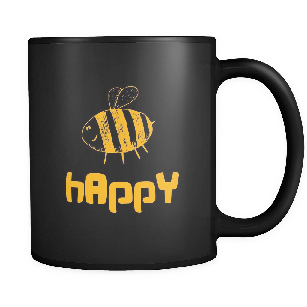 Bee Happy Inspirational Motivational Happiness 11oz Mug