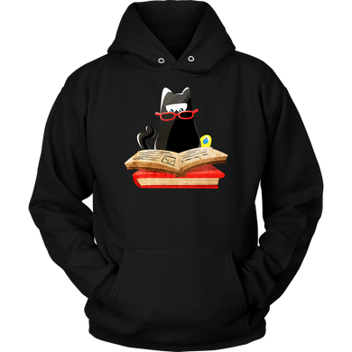 Nerdy Cat Funny Book Nerd Librarians Hoodie