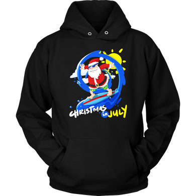 Christmas In July Funny Surfing Santa Hoodie