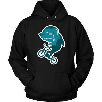 Shark on a Bike Cartoon Funny Sports Lover Apparel