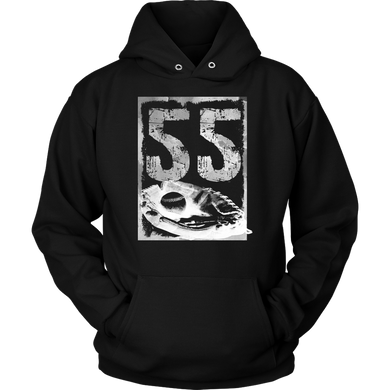 Baseball Number 55 Vintage Distressed Sport Hoodie