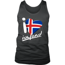 I Love Heart Iceland Pride Patriotic Vintage  Flag Men's Tank