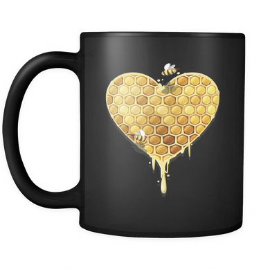 Heart Mug - Cute Honeycomb Heart Design on Black Ceramic 11oz Mug