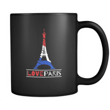 I Love Paris, France, French and Eiffel Tower Black Mug 11oz