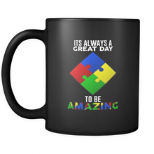It's a Great Day To Be Amazing Puzzle Autism Black Ceramic 11oz Mug