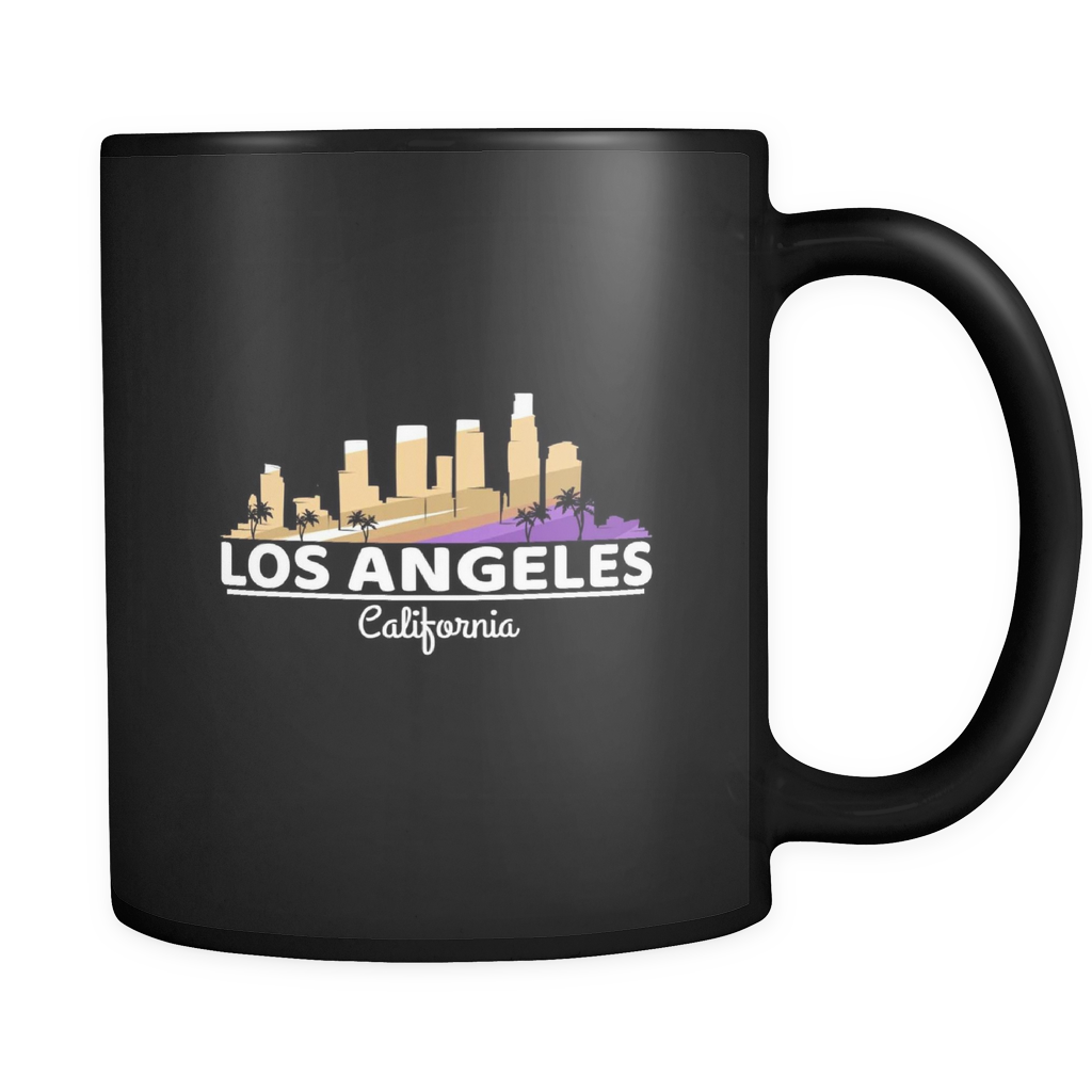 LA Los Angeles City Skyline California U.S.A Souvenir Travel Black 11oz mug