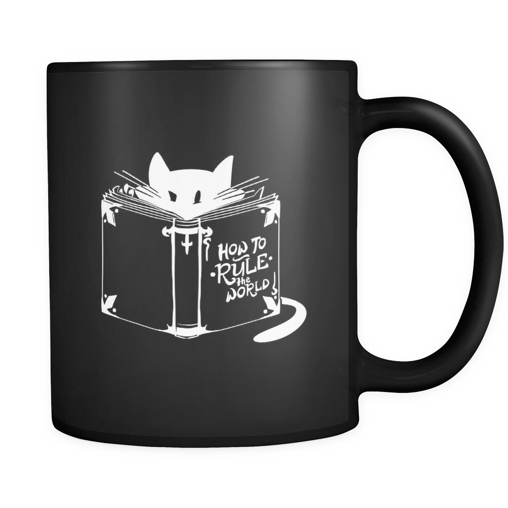 Cat Animal Mug - 'How To Rule The World' Quote and Cute Cat on Black ceramic 11oz mug