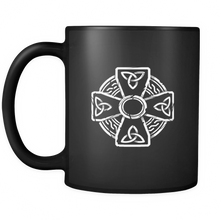 Irish Celtic Cross Trinity Knot Black Mug 11oz