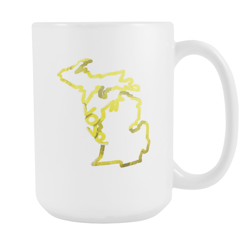 Love Michigan State Flag Map Outline 15oz Mug Lifehiker Designs