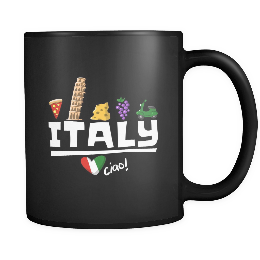 Love Italy and Everything Italian Culture Black Mug