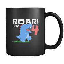 Dinosaur Kids 4th Birthday Fun Dino T Rex Lovers Black 11oz mug