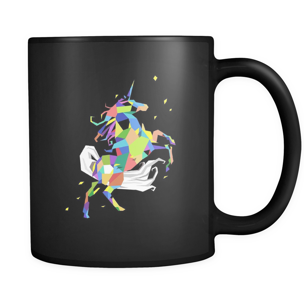 Unicorn Coffee Mug - Colored Unicorn on Black Ceramic 11oz Mug
