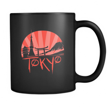 Skyline of Japan Tokyo Japanese Sunset Black Mug 11oz