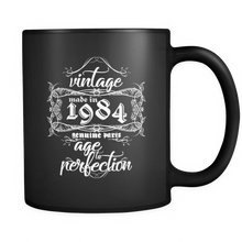 Vintage Coffee Mugs - Vintage, Made in 1984, Genuine Parts, Age to Perfection Quote on black mug