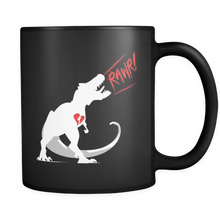 Valentines Day Mugs -  Dinosaur 'Rawr' Design on Black Ceramic Mug 11oz