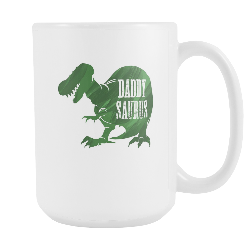 Daddysaurus Funny Dinosaur, Gift For Dad White 15oz Mug