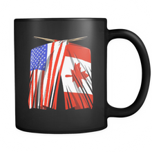 Canada America US Flag Trendy Black Ceramic Mug