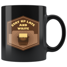 Stay Up Late And Write, Funny 11oz. Ceramic Black Mug, Typewriter Gift