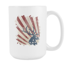 American Deer USA Flag Patriotic Independence Day White 15oz Mug