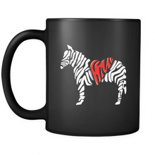 Zebra Print, Love Zebras, Animal Awareness Graphic Black 11oz Mug