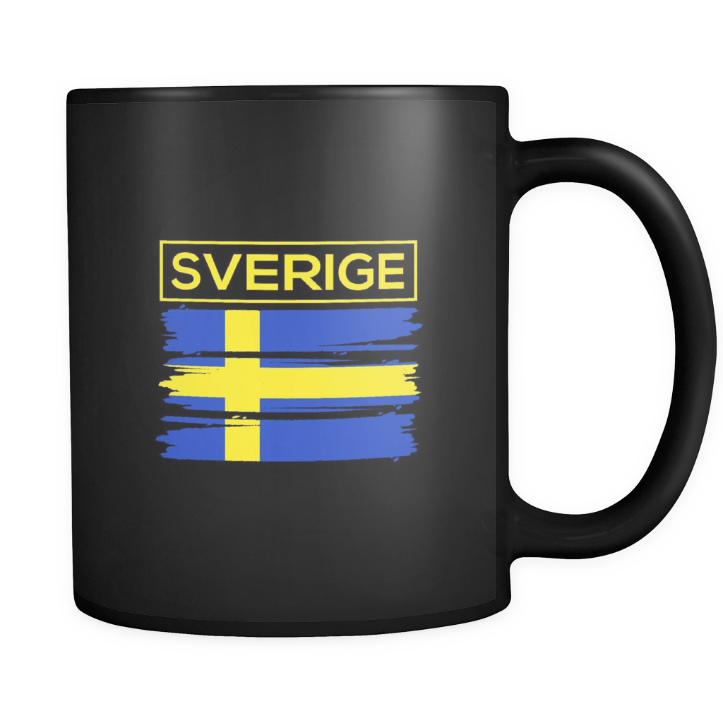 I Love Sweden, Swedish Flag Colors, Sverige Country  Black 11oz mug