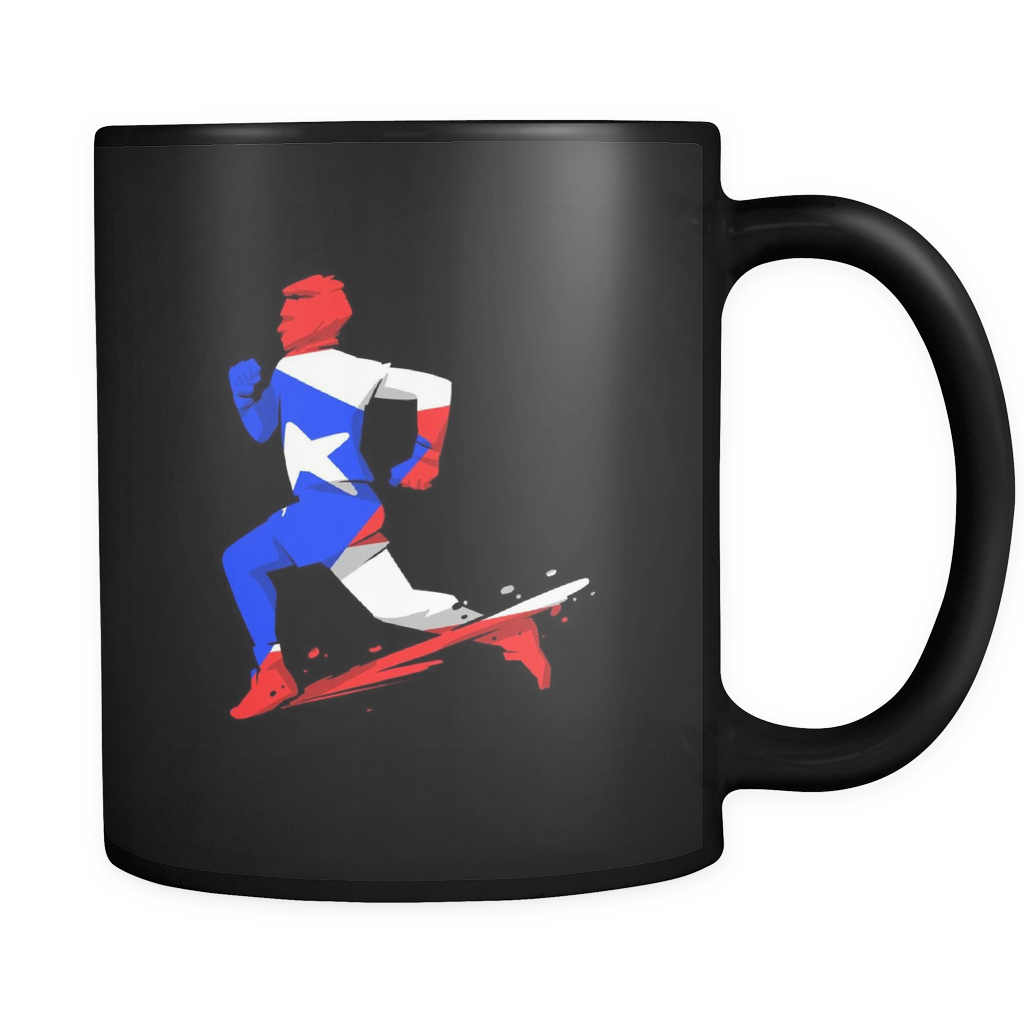 Puerto Rico Mug - Puerto Rico Road Runner Design on Black ceramic 11oz mug