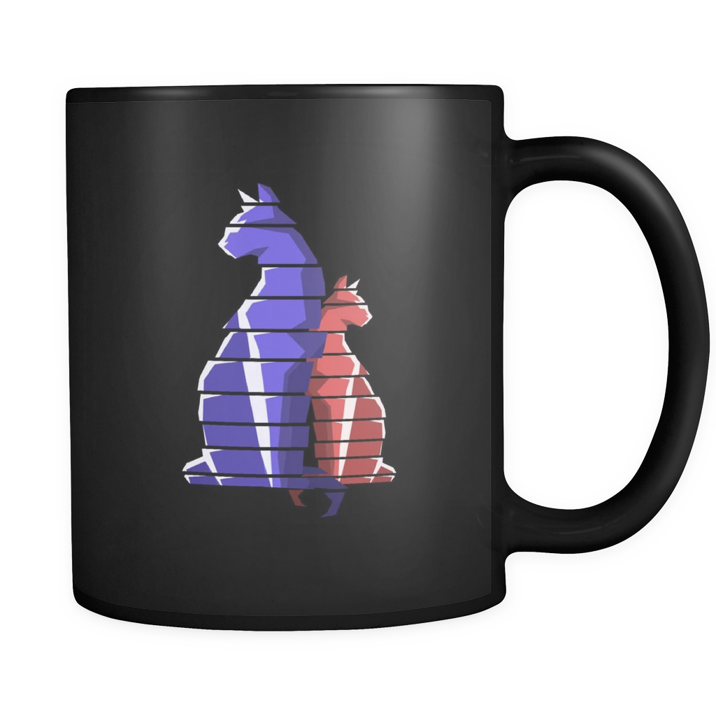 Cat Stripes Picure on Black ceramic 11oz Cat Animal Mug