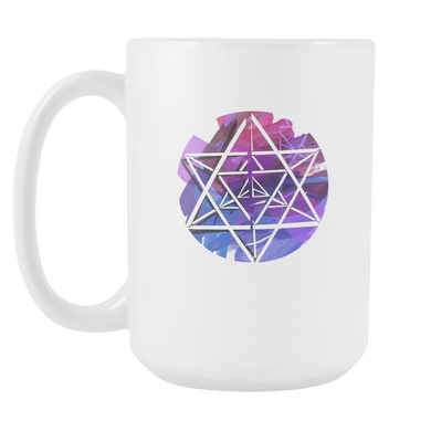 Lightworker Merkaba Sacred Geometry Abstract White 15oz Mug